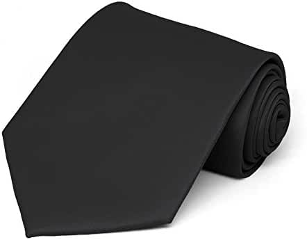 TieMart Men's Solid Black Necktie