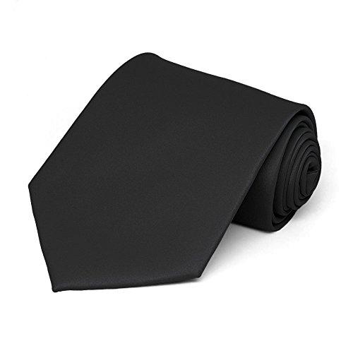 TieMart Men's Solid Black Necktie from tiemart