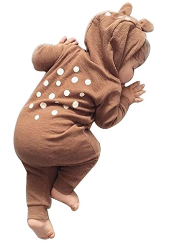 Animal Style Baby Jumpsuit Dear Printing Cute Romper Climbing Christmas Clothes size 6-12Months/Tag80 (Brown) -