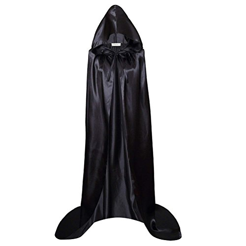 TTVOVO Hooded Cloak Tunic Robe for Men & Kids Knight Gothic Fancy Dress Halloween Masquerade Party Cosplay Role Play Costume Cape XS