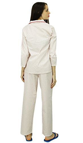 Phagun 3/4 impreso algodón pijama Set Pj Pant Ropa de dormir - elija el tamaño Rayas blancas y rojas