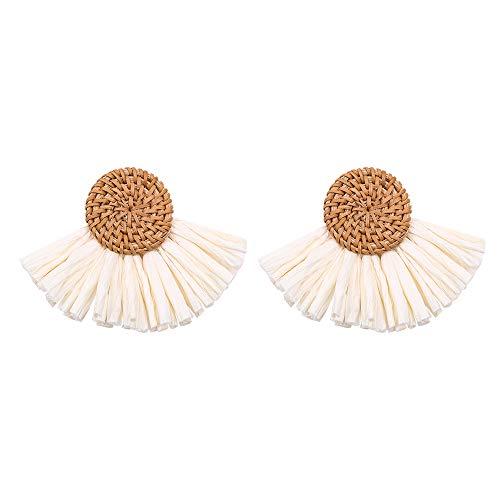 Jiayit Bohemian Rattan Handmade Raffia Geometric Round Earrings Ladies Jewelry Drop Dangle Earrings Resin Earrings For Tourism Seaside Vacation (Coffee)