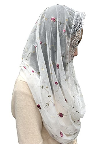 Orthodox Veil Head Covering with Embroidered flowers Catholic Chapel Mantilla veil V50 (Ivory wrap)