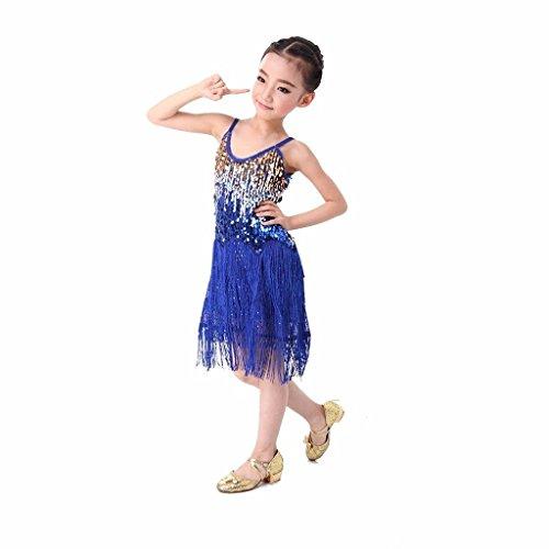 [Pilot-trade Kid's Latin Salsa Tango Ballroom Dance Dress Tassel Sequins Costume Navy Blue] (Childrens Salsa Costumes)