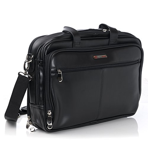 Alpine Swiss Monroe Leather Briefcase Top-Zip Laptop Messenger Bag Black ()