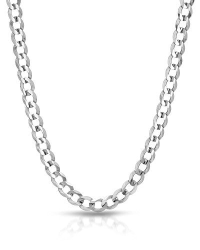 18k White Gold Bead (MCS Jewelry 14K White Gold Solid Cuban Curb Chain Necklace with Lobster Claw Clasp 2.5mm (18