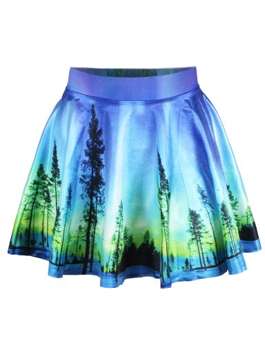 (LaSuiveur Womens Aurora Sky Digital Print Stretchy Flared Pleated Casual Mini Skirt)