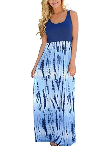 Shangke Womens Zig Zag Scoop Neck Wave Striped Tank Maxi Long Dress (L, Blue-floral Printed)