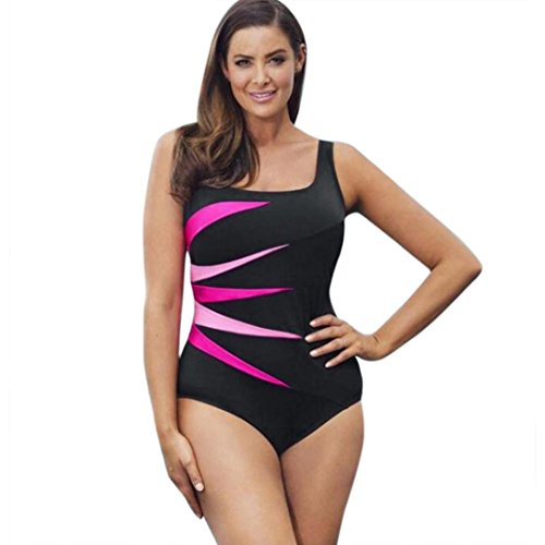 bd49de35babf0 WOCACHI Women Plus Size One Piece Sport Swimwear Patchwork Bathing Suit Red