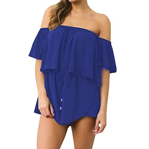 Alangbudu Women Off Shoulder Bandeau Strapless Ruffle Overlay Beachwear Short Elastic Waist Rompers Jumpsuits Overalls Blue ()