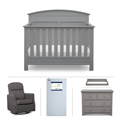 Serta Ashland 5-Piece Nursery Furniture Set (Serta Convertible Crib, 4-Drawer Dresser, Changing Top, Serta Crib Mattress, Glider), Grey by Delta Children