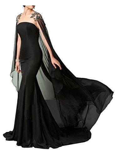 Abendkleider Ballkleider Schleppe mit Neu Aermellos Festkleider Partykleider Chiffon Missdressy Tuell Promkleider Romantisch Lang 7qwzZ1