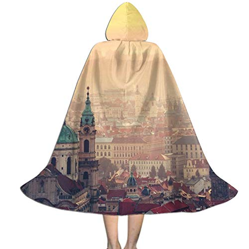 Prague Halloween Party (QBahoe Kids Cape Cloak with Hood European Cityscape Sunrise in Prague Halloween Hooded Cloaks Costumes Cosplay Capes Robe Witch Party Hooded)