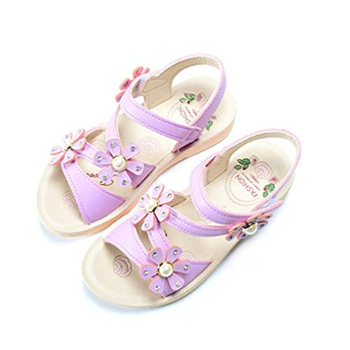 Girls Shoes Kids Sandals for Girls Pu Leather Beautiful Flower Pearl Princess Shoes Girl -