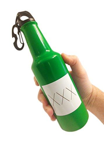 NEW! Megaseed Bottle Flask w/XXX Label & Carabiner Bottle Opener ()