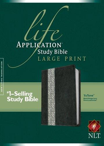 NLT Life Application Study Bible, Second Edition, Large Print, Floral TuTone (Red Letter, LeatherLike, Black/Vintage Ivory Floral)
