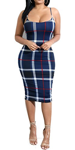 Mini Club Dress Print Dark Bodycon Women's Spaghetti Bodycon4U Plaid Night Blue Out Striped Straps w1vnF0Tq