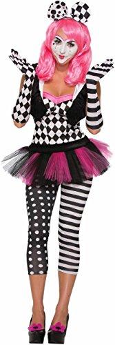 Forum Novelties Women's Harlequin Clown Opera Gloves, Black, White, Standard