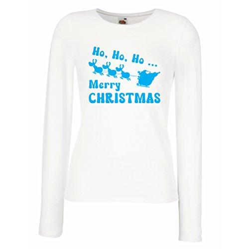 Camisetas de Manga Larga para Mujer regalos para Navidad ideas para regalar Blanco Azul