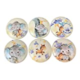 Set of 6 Yellow Elephant Nursery Print Wood Cabinet knob