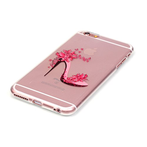 Trumpshop Smartphone Carcasa Funda Protección para Apple iPhone 5/5s/SE Serie Transparente + El amor y la Flor + Delgado Suave Flexibles TPU Silicona Caja Protectora Zapatos Rosas