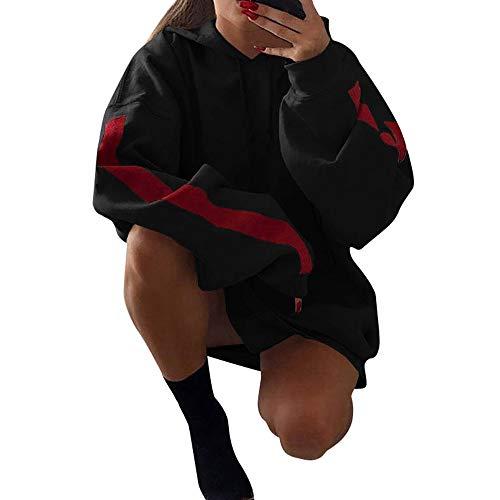 Hoodies for Womens Hot Sale,DEATU Ladies Fashion Loose Patchwork Clothes Sweatshirt Pullover Coat(Black,M)
