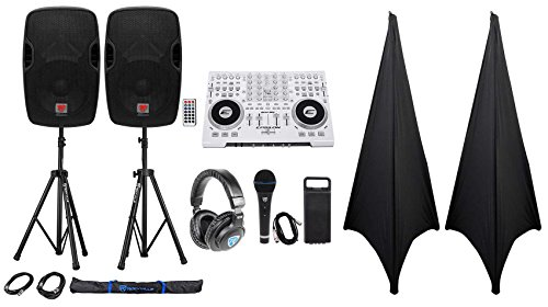 """Full DJ System Package: Controller+Powered 12"""" Speakers+Headphones+Mic+Stands"""
