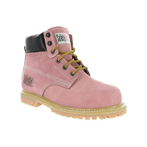 Safety Girl GS003-Lt Pink-5W Steel Toe Work Boots - Light Pink - 5W, English, Capacity, Volume, Leather, 5W, Pink () 1