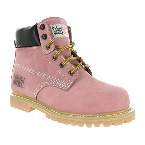Safety Girl Steel Toe Waterproof Womens Work Boots - Light Pink (10.5M)