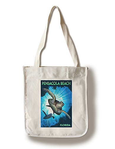 Pensacola, Florida - Sea Turtles Diving (100% Cotton Tote Bag - - Pensacola Florida Shopping