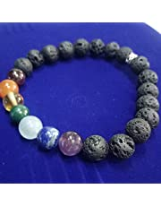 Bracelet, 7 stones and a lava stone for energy