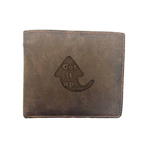 Saying Quote Twss Get It Up (Milk Chocolate) Engraved - - Premium Full Grain Leather Bi-Fold - Card Holder, Money Clip - Unisex, Men, Women - Handmade With Traditional Craftsmanship (Easiest Way To Pay Off Credit Card Debt)