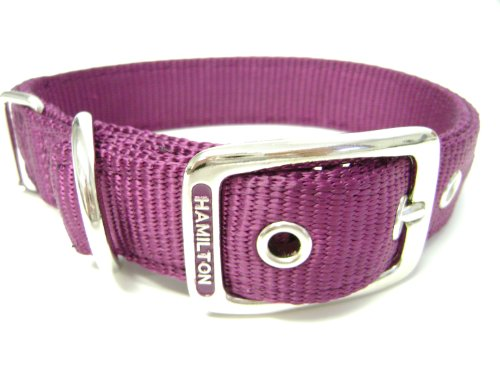Hamilton Double Thick Nylon Deluxe Dog Collar, 1-Inch by 20-Inch, Wine