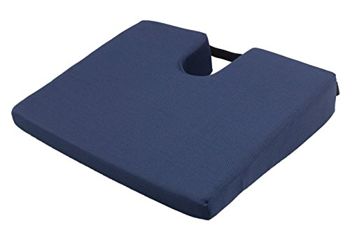 (ObboMed® SU-2370 Orthopedic Multiuse Wedge Cushion with Coccyx Cut-Out, Pressure Relief for Hemorrhoids, Tailbone, Sciatica, Hip, Poly/Cotton Cover, Blue)