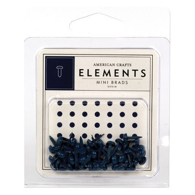 - American Crafts Elements Mini Brads, Denim