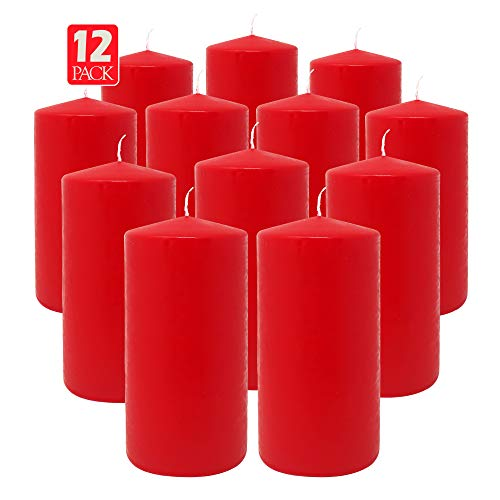Hyoola Red Pillar Candles 3x6 Inch - Unscented Pillar Candles - 12-Pack - European Made (The Three Pillars Of The European Union)