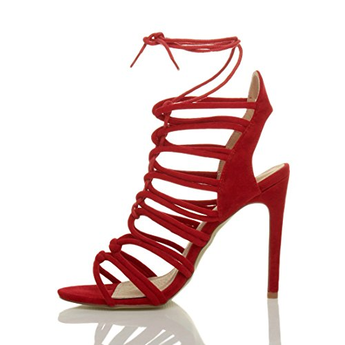 Heel Suede Size Shoes Sandals Ajvani Red Ghillie Women High 8nZvqE6