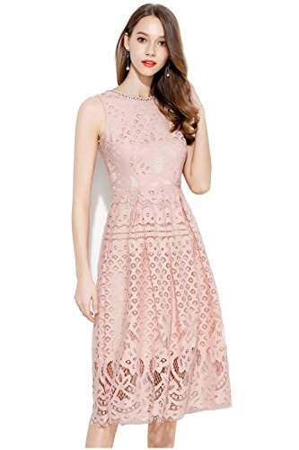 Elegant Pink Lace (VEIIASR Womens Fashion Sleeveless Lace Fit Flare Elegant Cocktail Party Dress (Medium, Pink))