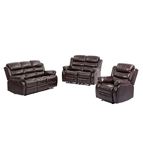 BestMassage Living Room set,Loveseat Chaise Reclining Couch,Recliner Sofa Chair Leather Accent (Set Sofa Loveseat Recliner Chair)