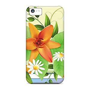 Durable Defender Case For Iphone 5c Tpu Cover(lilies Of Spring)