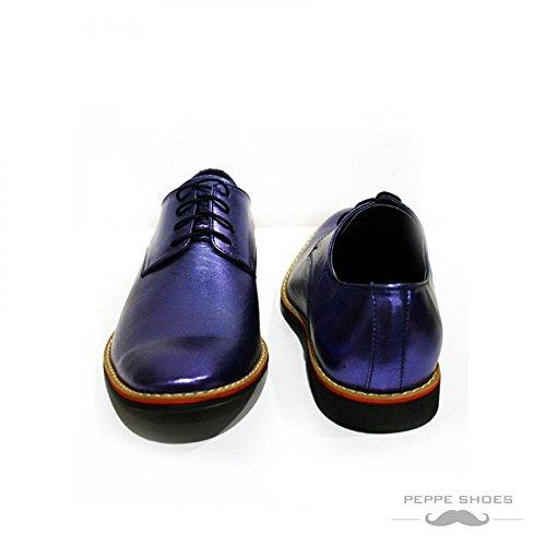 Modello Grosseto - Handgemachtes Italienisch Leder Herren Blau Oxfords Abendschuhe - Rindsleder Weiches Leder - Schnüren