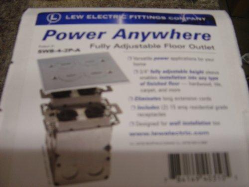 Lew Electric SWB-4-2P-A Floor Box, Quad Box w/2 Duplex Receptacle - Aluminum