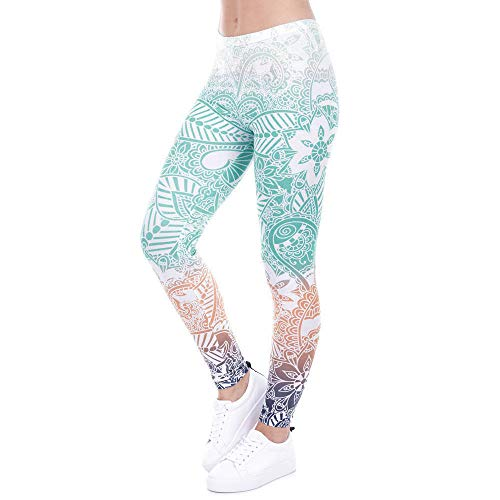 (Women's Yoga Pants Myoumobi_ Women's Printed Leggings Full-Length Yoga Workout Leggings Pants Soft Capri Blue)