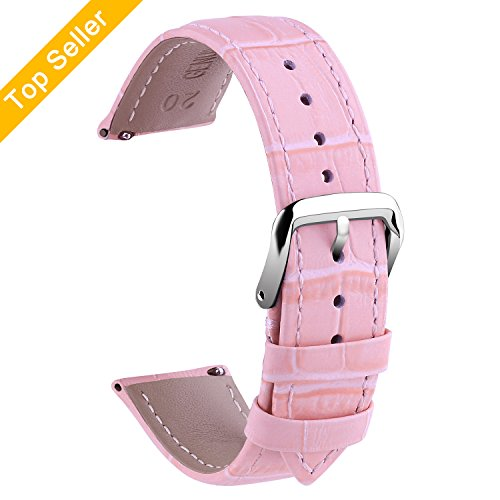 Vetoo Quick Release Leather Watch Bands,Alligator Grain Band for 22mm/20mm/18mm Replacement Strap Wristband for Men Women (Pink Genuine Alligator Strap)