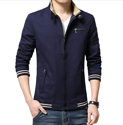 Mens Blue Mogogo Casual Leisure with Dark Basic Zips Size Fit Slim Jackets Plus HaOfWnaqd