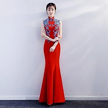 JKJHAH Vestido De Cola De Pez Vestido De Noche Banquete Vestido De Novia Rojo Satén Chino