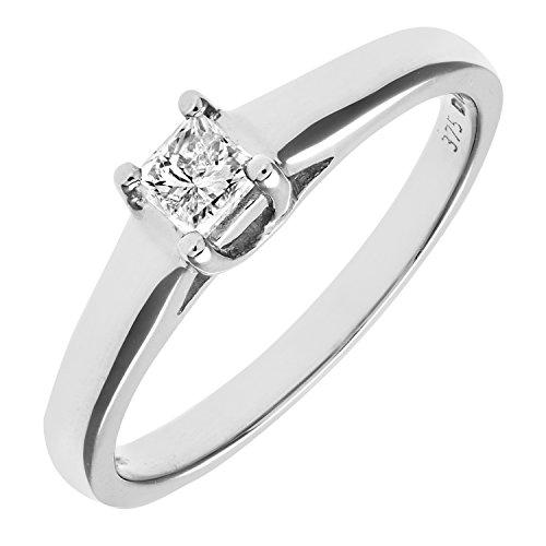 Bague Solitaire Femme - Or blanc (9 carats) 2.6 Gr - Diamant 0.25 Cts