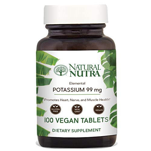 Natural Nutra Elemental Potassium Gluconate Dietary Supplement, Energy and Nervous System Health, 99 mg, 100 Vegetarian Tablets