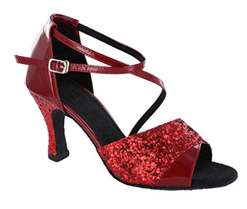 Tda Mujeres Tobillera Correa Peep Toe Salsa Sintética Tango Ballroom Latin Dance Modern Zapatos De Boda 7.5cm Rojo