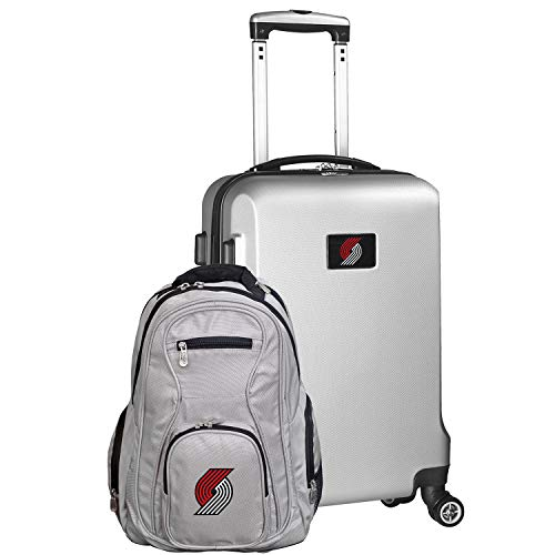NBA Portland Trail Blazers Deluxe 2-Piece Backpack & Carry-On Set, Silver